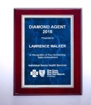 Rosewood High Lustr Plaque with Blue Marble Plate Achievement Awards