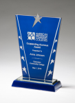 Constellation Series Glass Award - Blue Background and Chrome Plated Star Achievement Awards
