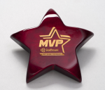 Rosewood Piano-Finish Star Paperweight with Felt Bottom Achievement Awards