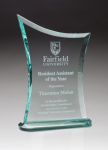 Contemporary Jade Glass Award with Oval-Shaped Base Achievement Awards