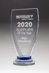 Chalice Series Glass Award Blue and Clear Glass Pedestal Base Achievement Awards
