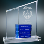 Crystal Perpetual Stand-up with Four Blue Blocks Achievement Awards