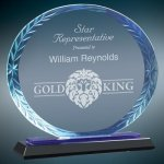 Oval Blue Accent Glass Achievement Awards