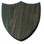 Three Point Walnut Finish Shield Plaque Achievement Awards