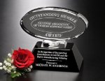 Awards In Motion Mirrored Oval Black Optical Crystal Awards