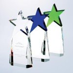 Triumphant Star Award Blue Optical Crystal Awards