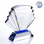Prosperity Award Blue Optical Crystal Awards