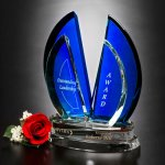 Flight Indigo Award Blue Optical Crystal Awards