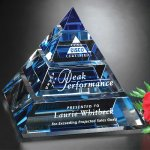 Apogee Pyramid Blue Optical Crystal Awards