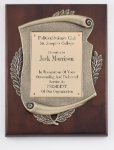 Genuine Walnut Plaque with Satin Finish and Metal Casting Cast Relief Plaques