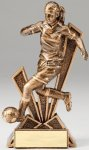Checkmate Series Sculpted Antique Gold Resin Trophy -Soccer Female  Checkmate Series Sculpted Antique Gold Resin Troph