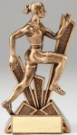 Checkmate Series Sculpted Antique Gold Resin Trophy -Track Female  Checkmate Series Sculpted Antique Gold Resin Troph