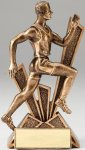Checkmate Series Sculpted Antique Gold Resin Trophy -Track Male  Checkmate Series Sculpted Antique Gold Resin Troph