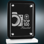 Floating Glass Standup Plaque Clear Glass Awards