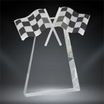 Crystal Racing Flags Award Clear Optical Crystal Awards