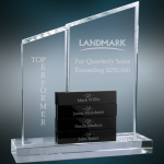 Crystal Perpetual Stand-up with Four Black Crystal Blocks Clear Optical Crystal Awards