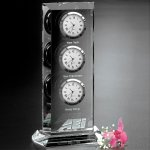 Trilogy Clock Clear Optical Crystal Awards