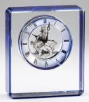 Elegant Crystal Clear Quartz Clock  Award  With Blue Edge  Laserable Clock Crystal Awards