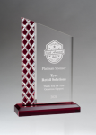 Zenith Series Clear Acrylic with Lattice Pattern and Red Metallic Accent Colored Acrylic Awards