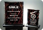 Back Beveled Rosewood Screened Plaque Colored Acrylic Awards