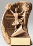 Curve Action Series Sculpted Antique Gold Resin Trophy -Cheer Curve Action Series Sculpted Antique Gold Resin Tr