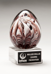 Egg-Shaped Burgundy and White Art Glass Award Employee Awards