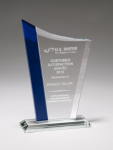 Zenith Series Jade Glass Award with Blue Glass Highlights Employee Awards