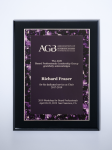 Violet Marble Plate on Black High Gloss Plaque Employee Awards