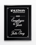 Clear Acrylic Plate on Black High Gloss Plaque Employee Awards