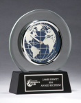 Glass Clock with World Dial Employee Awards