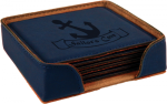 Leatherette Square Coaster Set -Blue Employee Awards