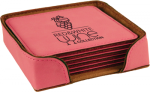 Leatherette Square Coaster Set -Pink Employee Awards