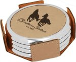 Leatherette Round Coaster Set with Silver Edge -Light Brown Employee Awards