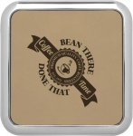 Leatherette Square Coaster with Silver Edge -Light Brown  Employee Awards