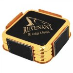 Leatherette Square Coaster Set with Gold Edge -Black  Employee Awards