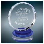 Round Crystal with Blue/Clear Base Employee Awards
