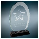 Oval Halo Glass with Black Base Employee Awards