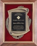 Genuine Walnut Frame with Metal Casting on Red Velour Employee Awards