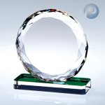Gem-Cut Circle W/ Color Base Executive Crystal Awards