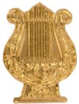 Gold Music Lyre Metal Chenille Letter Insignia Lapel Pins