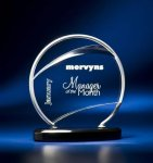 Bent Wire Circle on Black Acrylic Base Modern Design Award Series