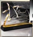 Gold Lasered Star Accent On Base Patriotic Awards