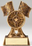 Premium Scultped Antique Gold Resin Trophy -Flags and Steering Wheel Premium Sculpted Resin Trophy Awards