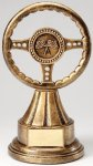 Premium Scultped Antique Gold Resin Trophy -Steering Wheel  Premium Sculpted Resin Trophy Awards