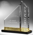 Multi-Faceted Dual Acrylic Column with Base Accent Color Presidential Acrylic Award Series