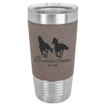 Leatherette Double Wall Insulated Stainless Steel Tumbler -Gray Promotional Mugs