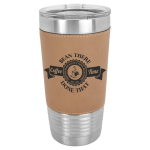 Leatherette Double Wall Insulated Stainless Steel Tumbler -Light Brown Promotional Mugs