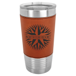Leatherette Double Wall Insulated Stainless Steel Tumbler -Rawhide Promotional Mugs