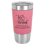 Leatherette Double Wall Insulated Stainless Steel Tumbler -Pink Promotional Mugs
