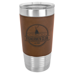 Leatherette Double Wall Insulated Stainless Steel Tumbler -Dark Brown Promotional Mugs